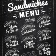 Sandwiches menu chalk — Stock Vector