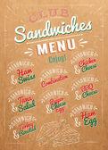 Sandwiches menu kraft — Stock Vector