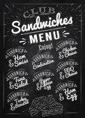 Sandwiches menu chalk — Stock Vector