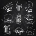Chinese food symbols chalk — Stock Vector #44443465