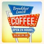 Retro Neon Sign Breakfest Coffee — Stock Vector #44713831