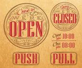Set vintage open closed kraft — Stock Vector