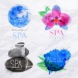Symbols spa watercolor — Stock Vector