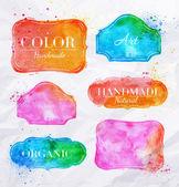 Watercolor labels vintage — Stock Vector