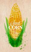 Corn watercolor poster — Stock Vector
