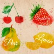 Постер, плакат: Fruit watercolor cherry lemon strawberry pear in kraft