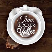 Poster cup kofem alarm clock in dark wood — Stock Vector