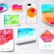Vector sheets of paper wrapped template design watercolor — Stock Vector #48219279