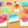 Постер, плакат: Vector sheets of paper wrapped template design watercolor kraft