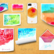 Vector sheets of paper wrapped template design watercolor kraft — Stock Vector