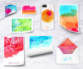 Vector sheets of paper wrapped template design watercolor — Stock Vector