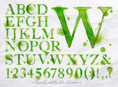 Alphabet watercolor green — Stock Vector