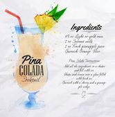 Pina colada cocktails watercolor — Vetorial Stock