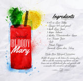Bloody mary cocktails watercolor — Stock Vector