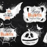 Halloween set symbols lettering in chalk — Stock Vector #50544785