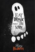 Ghosts halloween poster chalk — Stock Vector