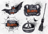Halloween set symbols with lettering in vintage style — Stock Vector