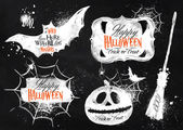 Halloween set symbols lettering in chalk — Stock Vector