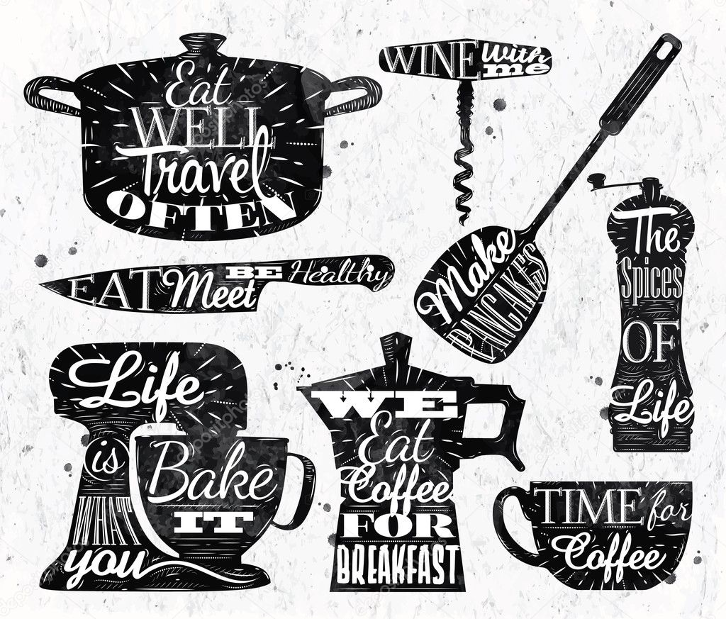Retro Kitchen Illustration: Restaurante De Cocina Símbolo Vintage Letras