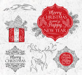 Merry Christmas graphics elegant vintage — Wektor stockowy