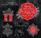 Merry Christmas graphics elegant vintage chalk — Stock Vector