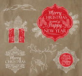 Merry Christmas graphics elegant vintage kraft — Vector de stock