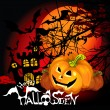 Halloween Background with haunted house, bats and pumpkin — Stock Vector #12722033