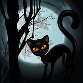 Halloween illustration with black cat on moon background. — Stock Vector