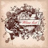 Vin etikettdesign med druvor — Stockvektor