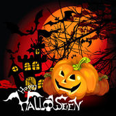 Halloween Background with haunted house, bats and pumpkin — Stock Vector