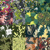 Set of abstract floral seamless patterns — Stock Vector