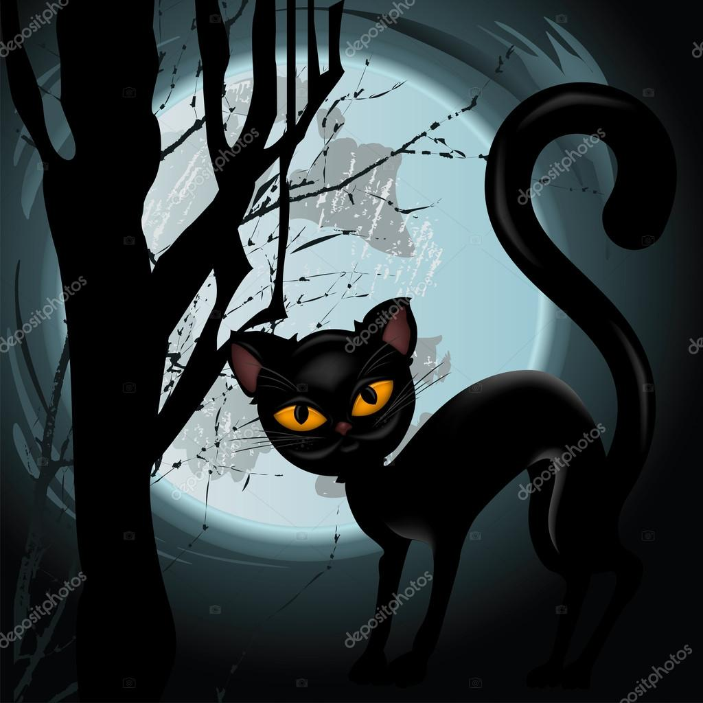 Halloween illustration with black cat on moon background  Vettoriali Stock  #12722003