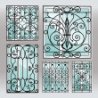 Set of iron window latticies - Stock Vector