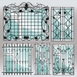 Stock vektor: Set of iron window lattices