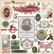 Set of vector Christmas designs and vintage new year labels. Ele — Imagens vectoriais em stock