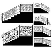 Wrought iron stairs railing — Stock Vector