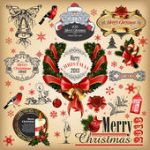 Christmas collection of calligraphic and typographic elements — Stock Vector
