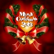 Royalty-Free Stock 矢量图片: Christmas garland wreath with ribbons and jingle bells