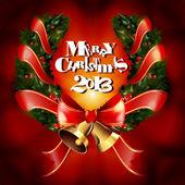 リボンとジングルの鐘とクリスマス ガーランド花輪 — ストックベクタ
