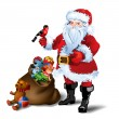 Vector Illustration of Santa Claus with sack full of gifts — Stock Vector