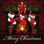 クリスマス暖炉ベクトル イラスト — ストックベクタ