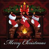 Christmas fireplace vector illustration — Stock Vector