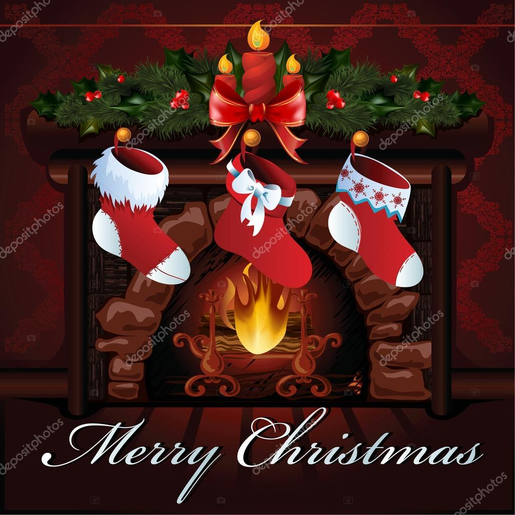 Christmas fireplace vector illustration.  Stock Vector #14832667