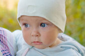 Cute one year old baby for a walk in the garden — ストック写真