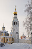 The bell tower of St. Sophia Cathedral. Winter. — Stock Photo