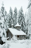 Wooden chapel in a snowy forest. Winter north. — Stok fotoğraf