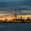 Peter and Paul Fortress at sunset in the background. White Night — Stock Photo #5546695