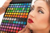 Makeup Applying. Make-up artist applying — Stock Photo