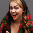 Stock Photo: Young womin headscarf in Russistyle.
