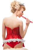 Sexy cheerful santa helper girl — Stock Photo